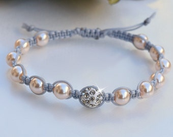Gray and Pink Pearl Friendship Bracelet/Christmas gifts/Crystal Bracelet