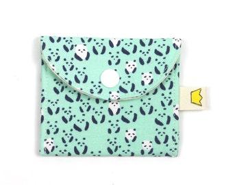 Panda mini snap pouch, stitch marker case, cute small coin purse