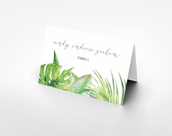 Place card printable tropicalgreen leaves watercolor, Printable Wedding place cards holder, Escort card, Wedding name, The Aura collection
