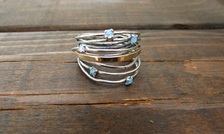 opal ring stacking ring unique gold silver boho style