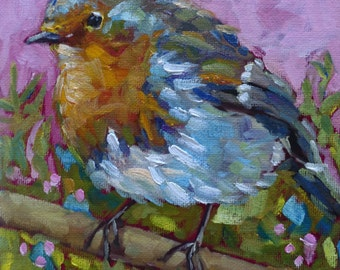 MISS MARTHA small original bird oil painting by Jean Delaney size 6 x 6  on 1/8th inch panel