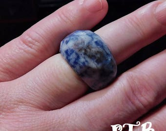 Thyroid Healing ~ Authentic Natural Faceted Sodalite Solid Gemstone Ring sz 8