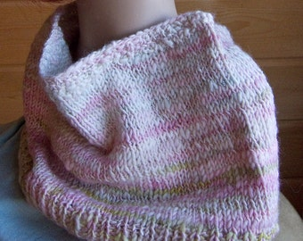 Handspun Cherry Blossom Thick and Thin Cowl
