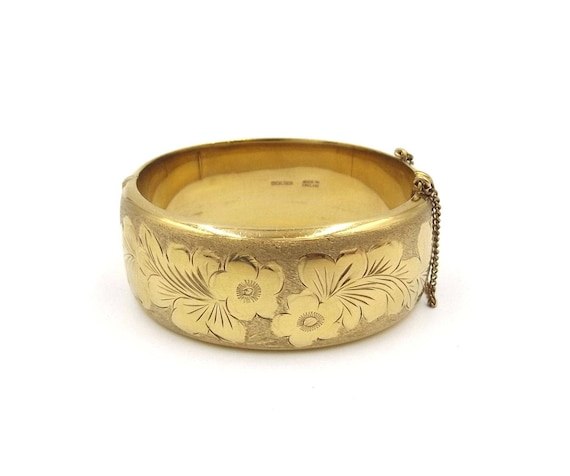 Wide Hinged Bangle 12ct Gold 1/20th Rolled Gold Metal Core