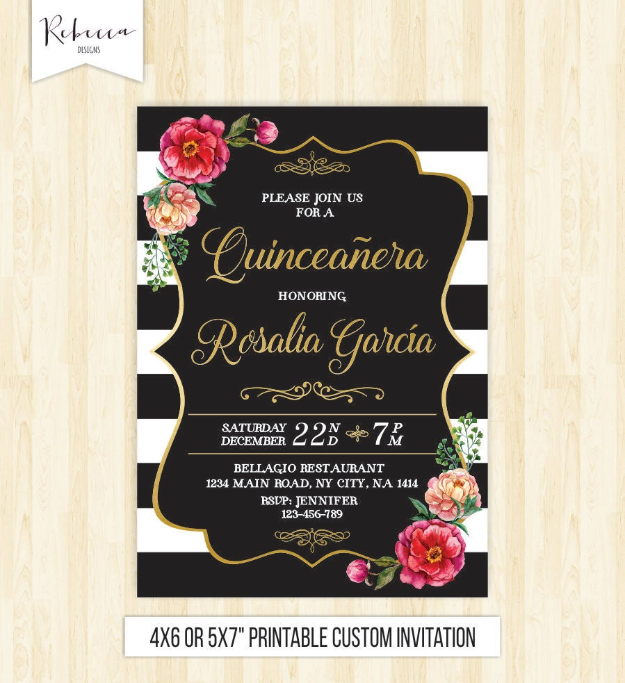 Quinceanera Invitation 15th Birthday Party Invite Mis Quince
