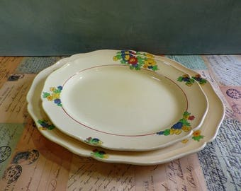 Royal Doulton 'Minden' Vintage Serving Plates or Platters 1930s Pair of pretty floral pottery plates
