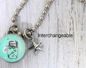 kids necklace, kids jewelry, firefly charm, kids accessories, pendant, Interchangeable photo jewelry