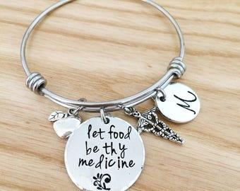 Dietitian gift, bangle bracelet, registered dietitian bracelet, gift for dietician, hand stamped gift, personalized gift, graduation gift