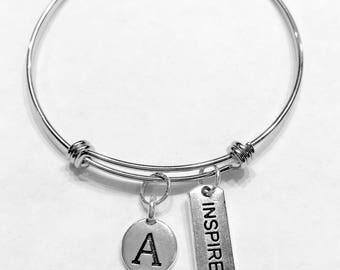 Gift For Her, Initial Bangle Bracelet, Inspire Bracelet Gift, Valentine Gift Wife Girlfriend Sister Mother Daughter Bracelet