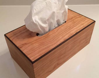 Cherry Rectangular Tissue Box Cover with Solid Walnut Edging