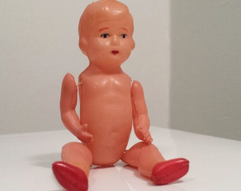 Vintage Celluloid Doll marked OK Occupied Japan, Dollhouse Doll with Red Shoes, collectible plastic toy doll