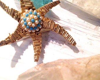 Old Hollywood starfish brooch costume jewelry Hollywood glamour vintage brooch pin vintage jewellery Costume jewellery Turquoise jewelry