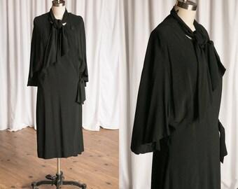 Metropolis coat | vintage 20s coat | 1920s black wool coat | 20s wrap coat | black 20s wool cocoon coat | John Wanamaker