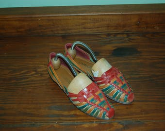 Women Size 6 1/2 80s Vintage HUARACHES Multicolored woven leather sandals