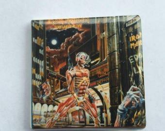 Iron Maiden Original 1980s Vintage Dead Stock Square Pin