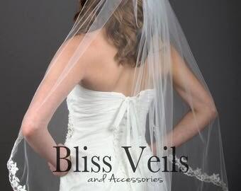 Lace Veil, Ivory Lace Veil, Wedding Lace Veil, Cathedral Lace Veil, Fingertip Lace Veil, Partial Lace Veil, Chapel Lace Veil