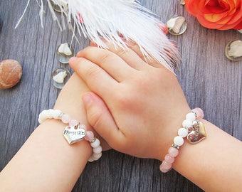 Flower girl gift Flower girl jewelry Flower girl bracelet Childrens jewelry Kids jewelry Rose quartz bracelet Heart bracelets charm bracelet