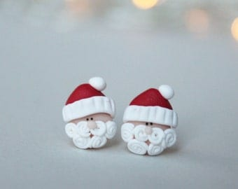 Santa Earrings - Christmas Earrings - Secret Santa Earrings - Christmas Jewellery - Santa Studs - Holiday Earrings - Secret Santa Gift