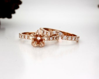 14K Rose Gold Tulip Engagement Ring, Bridal Set, Wedding Band Diamond Semi Mount! Set your Diamond, Gemstone, Moissanite. La Tulipe USA Made