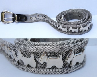 Vintage Metal And Leather Belt With Dogs // Silver