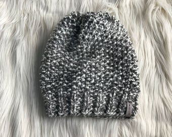 Textured Knit Slouchy Hat // Chunky Knitwear // Moss Beanie