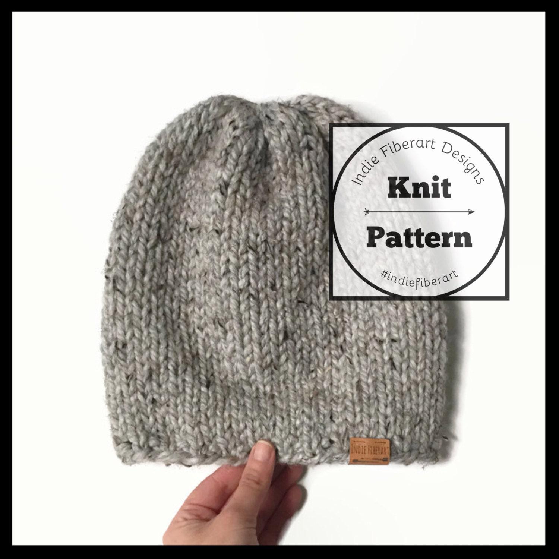 Knit Slouchy Hat Pattern Bulky Yarn : KNITTING PATTERN // The Cayuga Beanie // Low Profile Slouchy