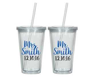 Personalized Mr and Mrs Tumblers, Mr. and Mrs. Gift, Gift for the couple