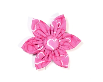 Valentine's Pink Hearts Flower for Dog collar, Cat collar, collar flower, pet collar flower, wedding flower, flowers for dog collars