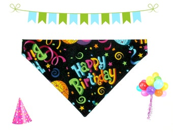 Happy Birthday Dog Bandana, Dog Scarf, no tie bandana, slip on bandana, pet bandana, doggy scarf , scarf for dogs