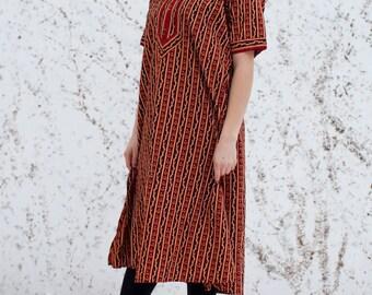 VTG 1970's Festival Indian Ethnic Maxi Kaftan Kimono Dress Hippie Boho Summer Festival Ethnic S/M