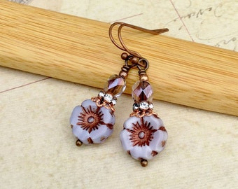 Purple Earrings, Lavender Earrings, Copper Earrings, Flower Earrings, Czech Glass Beads, Unique Earrings, Womens Earrings, Gifts for Her