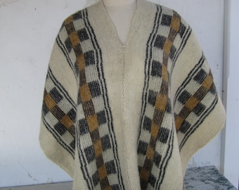 Vintage wool poncho from Ecuador gold, black and cream rough wool