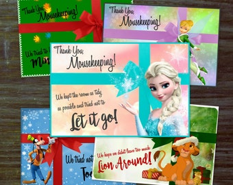 DIY Christmas Mousekeeping Envelopes { or 5x7 notes } DIY Mousekeeping Disney Vacation Tips Cards Notes Pockets Hotel instant download