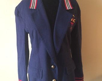 Vintage Prep School Blazer // 1980's Preppy Navy Blazer // Embroidered Retro Long Blazer