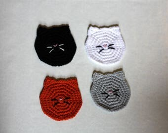 Cat face Coasters set of 4