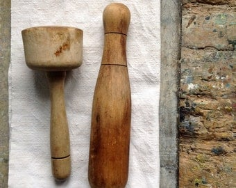 2 vintage French wooden pestles, vintage kitchen tools, vintage utensils