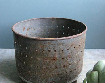 a vintage french cheese mould, cheese strainer, curd strainer,faisselle, metal faisselle