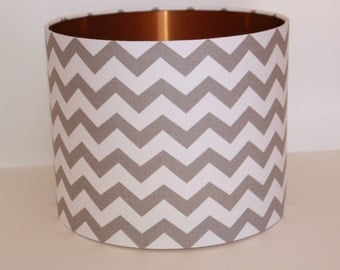 New! Chevron and Copper Drum Lampshade/ modern lampshade/ ceiling lampshade/ table lamp
