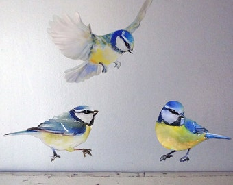 Set of 3 Birds, Wall Decal Bird, Birds Wall Stickers, Nursery Decal, Fabric Wall Sticker (Not Vinyl), 3 Blue Tit Wall Decal, Watercolor Bird