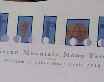 The Green Mountain Moon Tarot reading, journal, interpretation, natal astrological chart, natal moon phase