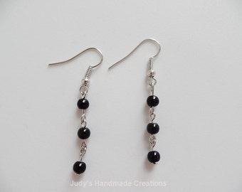 Black Bead Earrings, Black Earrings, Chain Earrings, Beaded Earrings, Black Beaded Earrings, Beaded Black Earrings, Popular Earrings