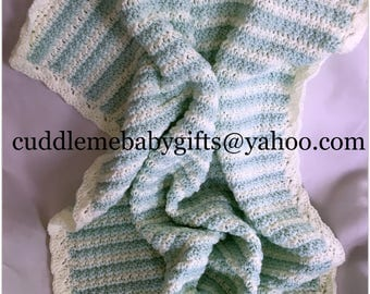 Baby Shower Handmade Crochet Baby Blanket Baby Mint Green and White Baby Afghan Baby Shower Gift Neutral Gender Crochet Baby Blanket Boy Gir