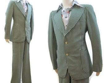 Vintage 1970s Suit Men's Loud Green White Checked Suit Jacket Pants 44 46 tall