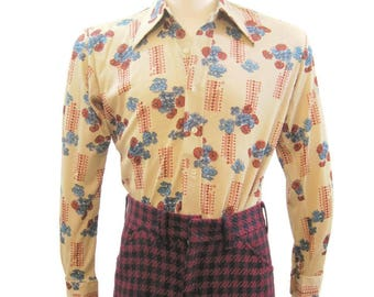 Vintage 70s Shirt Mens Nylon Jersey Polyester Floral Long Sleeve Disco  M L