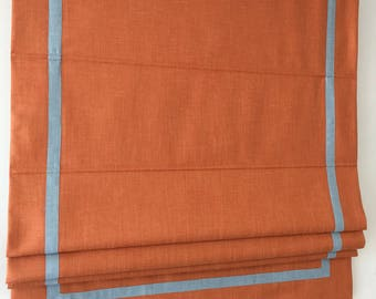 "Flat Roman Shade ""Orange with Blue trim"", border and chain mechanism, Linen Roman Shades, Window Treatments, Custom Made"