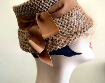 Vintage Straw Bucket Hat with Wide Grosgrain Ribbon and Netting