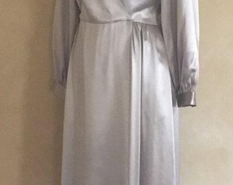 Vintage 70's - 80's 100% Silk Dress in Silver Grey Color