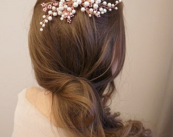 Rose Gold Bridal hair comb, Rose Gold Bridal headpiece, Bridal hair piece, Wedding hair piece, Wedding hair comb, Wedding headpiece
