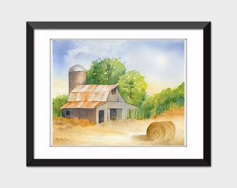 Printable Watercolor Landscape Painting Hay Barn Instant Download Wall Art