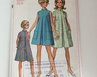 Simplicity 7606 1960s Maternity Swing Dress Sewing Pattern / Bust 34""